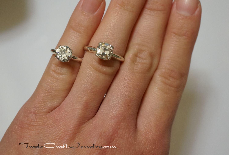 7.5mm OEC & OMC CZ Engagement Rings Size 6.5 Ring finger