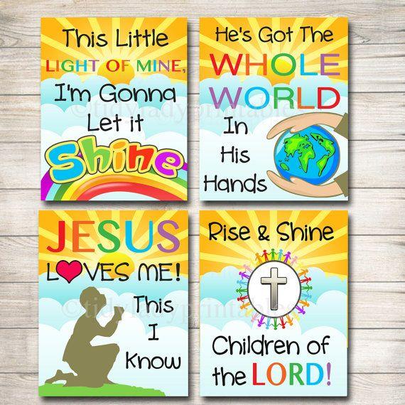 Children\'s Bible Songs Art, Scripture Art, Printable Wall Art Bible ...