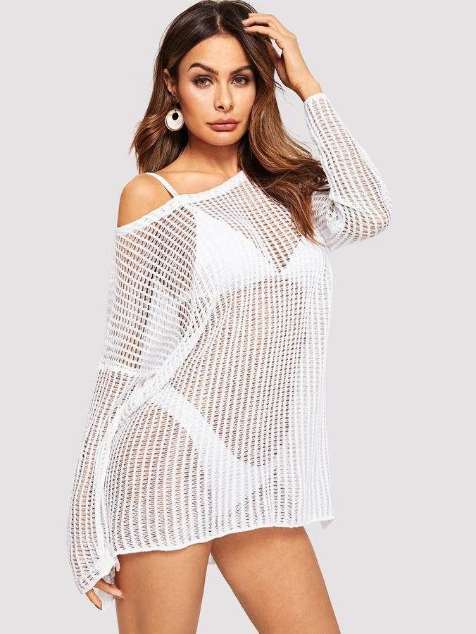 42eaf42637 Shein Drop Shoulder Slit Hem Loose Knit Cover Up in 2019 | Products ...