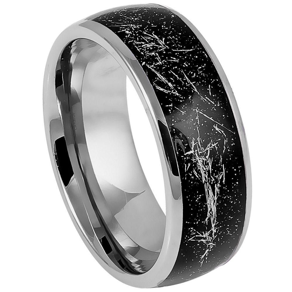 8mm Tungsten Wedding Band Black Tungsten Ring Black