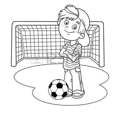 Page boy colorare pagina profilo di un ragazzo di cartone - Pagina da colorare di un pallone da calcio ...