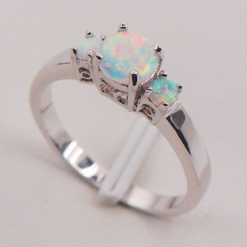 White Fire Opal Australia 925 Sterling Silver Woman Jewelry Ring