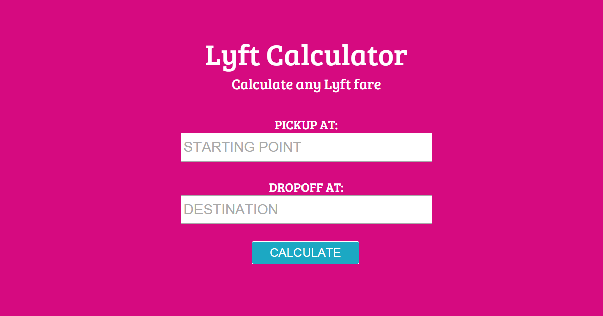 Lyft Fare Quote Online Fare Estimator For #lyft  Httplyftcalculator  Pretty