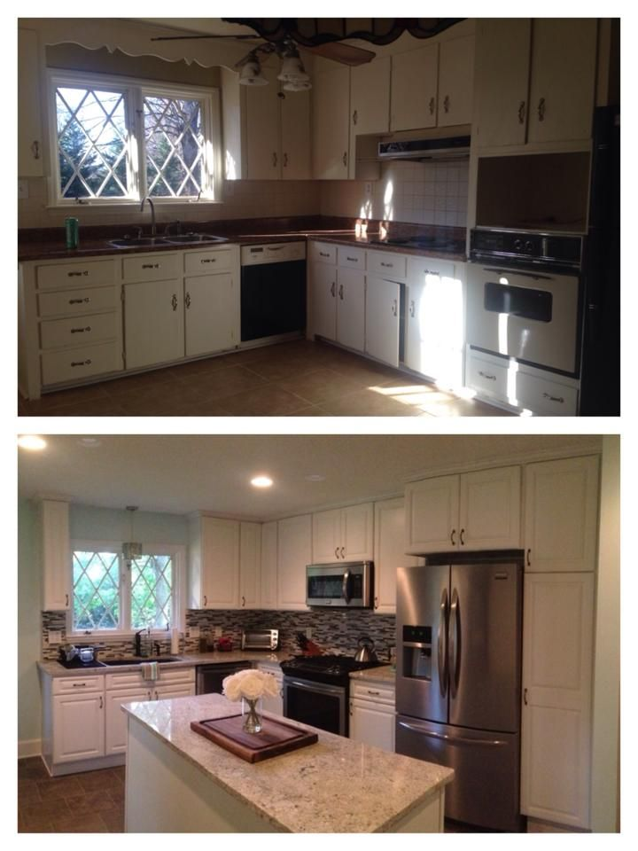 before and after on a kitchen remodel design with white