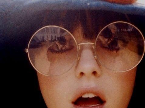 eyes, girl, glasses, reflection, retro, round