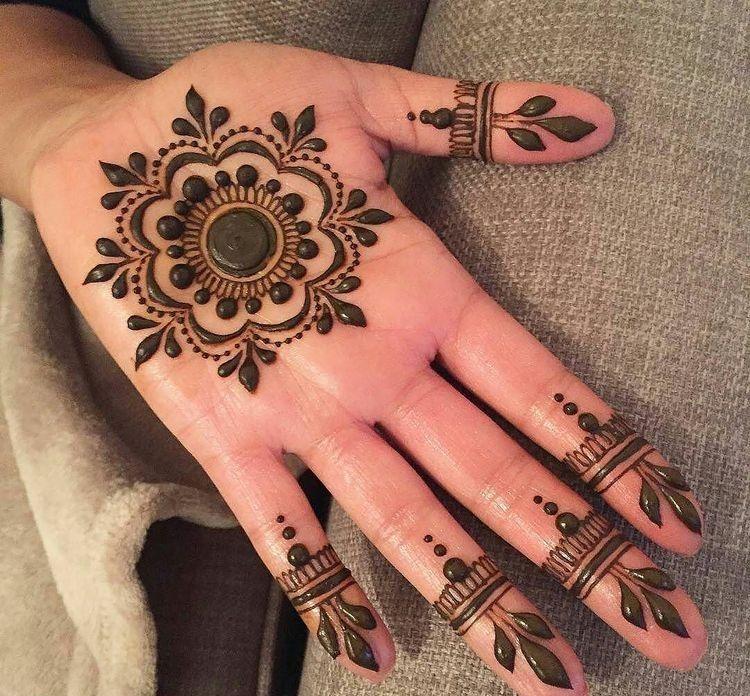 simple mehndi design for left hand fingers