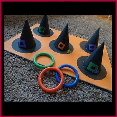 Dollar Store Crafter Diy Witch Hat Ring Toss Game Fun Halloween Party Games Fun Halloween Games Carnival Games For Kids