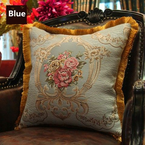Art Embroidered Throw Pillows Flower Home Decoration Cushions Vintage Style