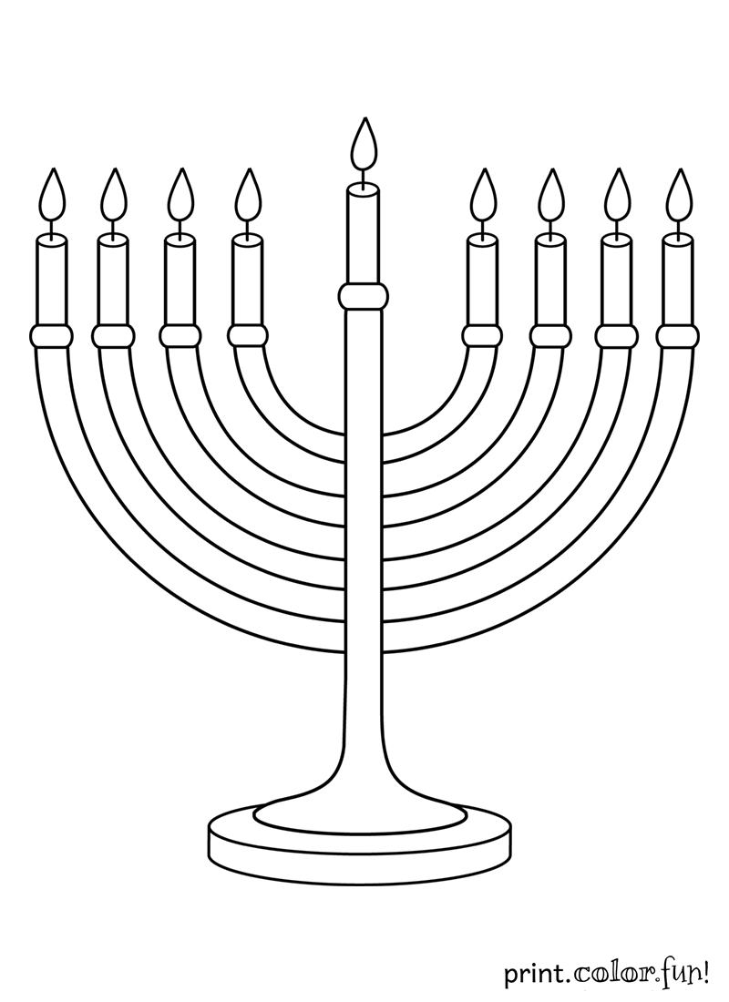 Hanukkah Menorah Coloring Pageg 8001100 Holidays Pinterest