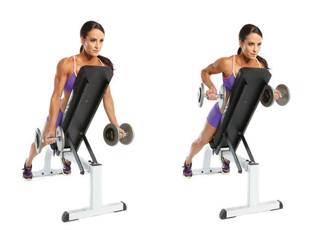 Incline Two Arm Dumbbell Row Strength And Weight Loss Pinterest