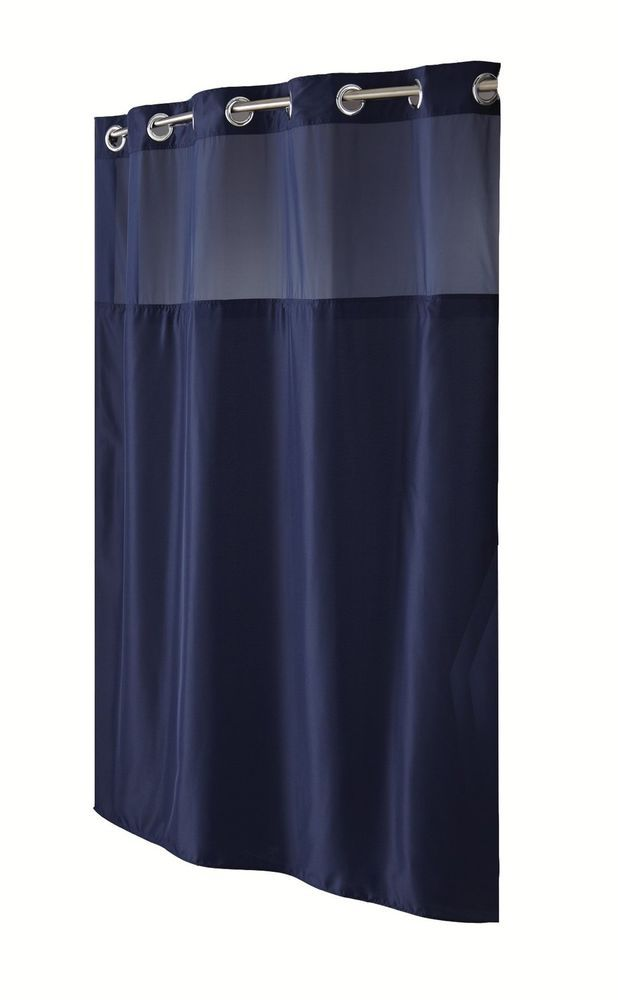 Hookless Fabric Shower Curtain With Built In Liner Navy Blue Mystery