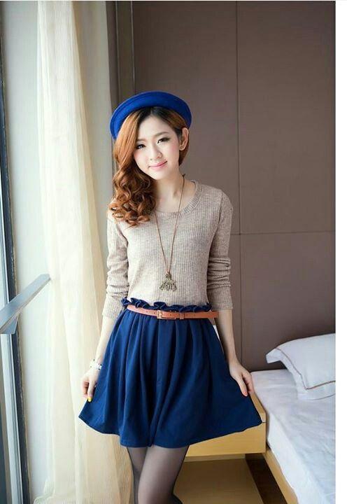 Royal blue dress shirt korean fashion