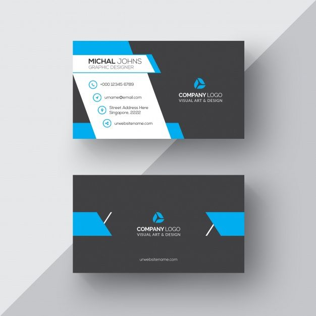 Download Black And Blue Business Card For Free Printing Business Cards Blue Business Card Free Business Card Templates