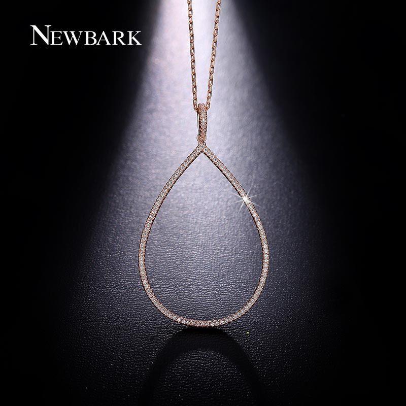 Newbark gota de agua collar de pera grande collares y colgantes de oro rosa plateado tiny cubic zirconia joyería minimalista colar