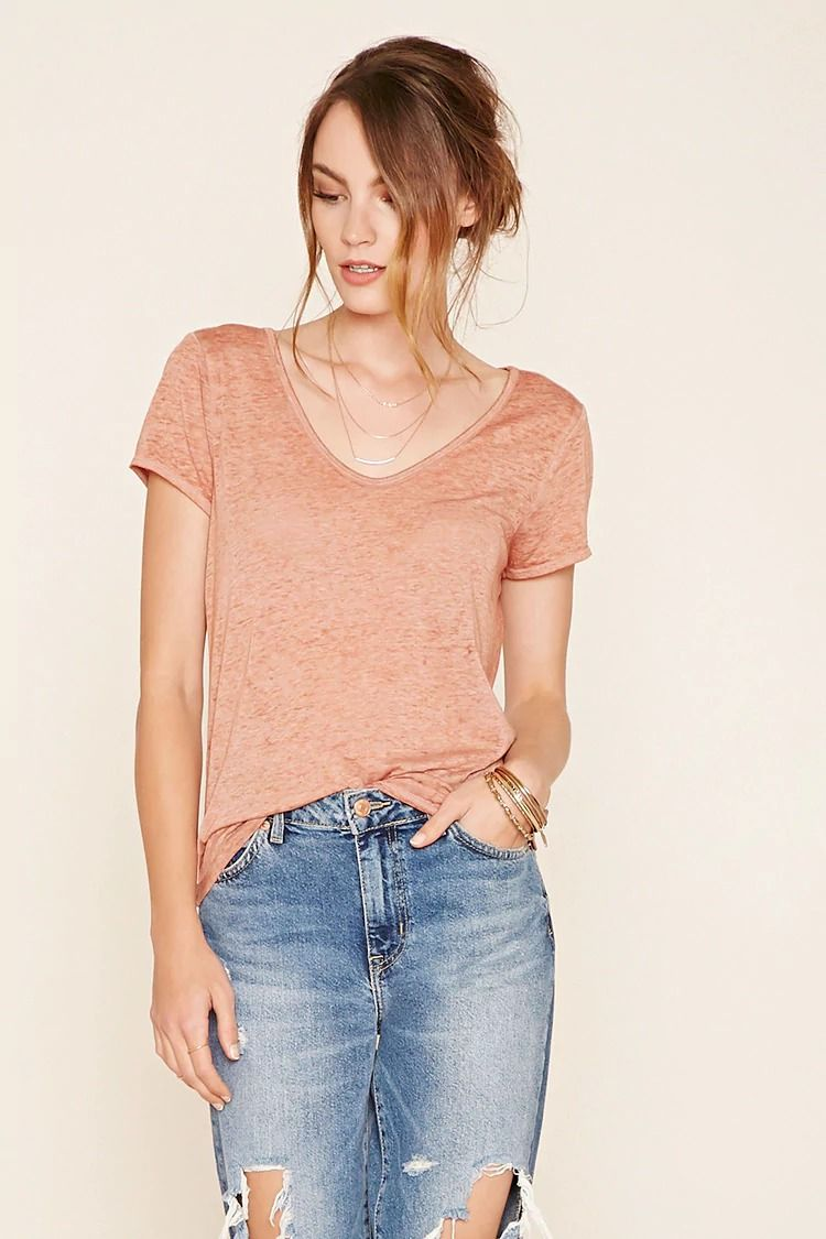 Forever 21 Contemporary - A burnout knit tee featuring a V-neckline, short sleeves, and a raw-cut hem. #f21contemporary