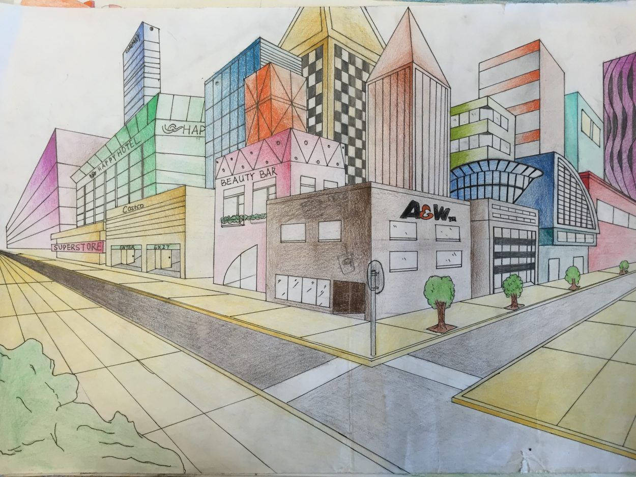 Two Point Perspective Futuristic City Drawing Jennifer Chen City Drawing Perspective Drawing Architecture 2 Point Perspective Drawing