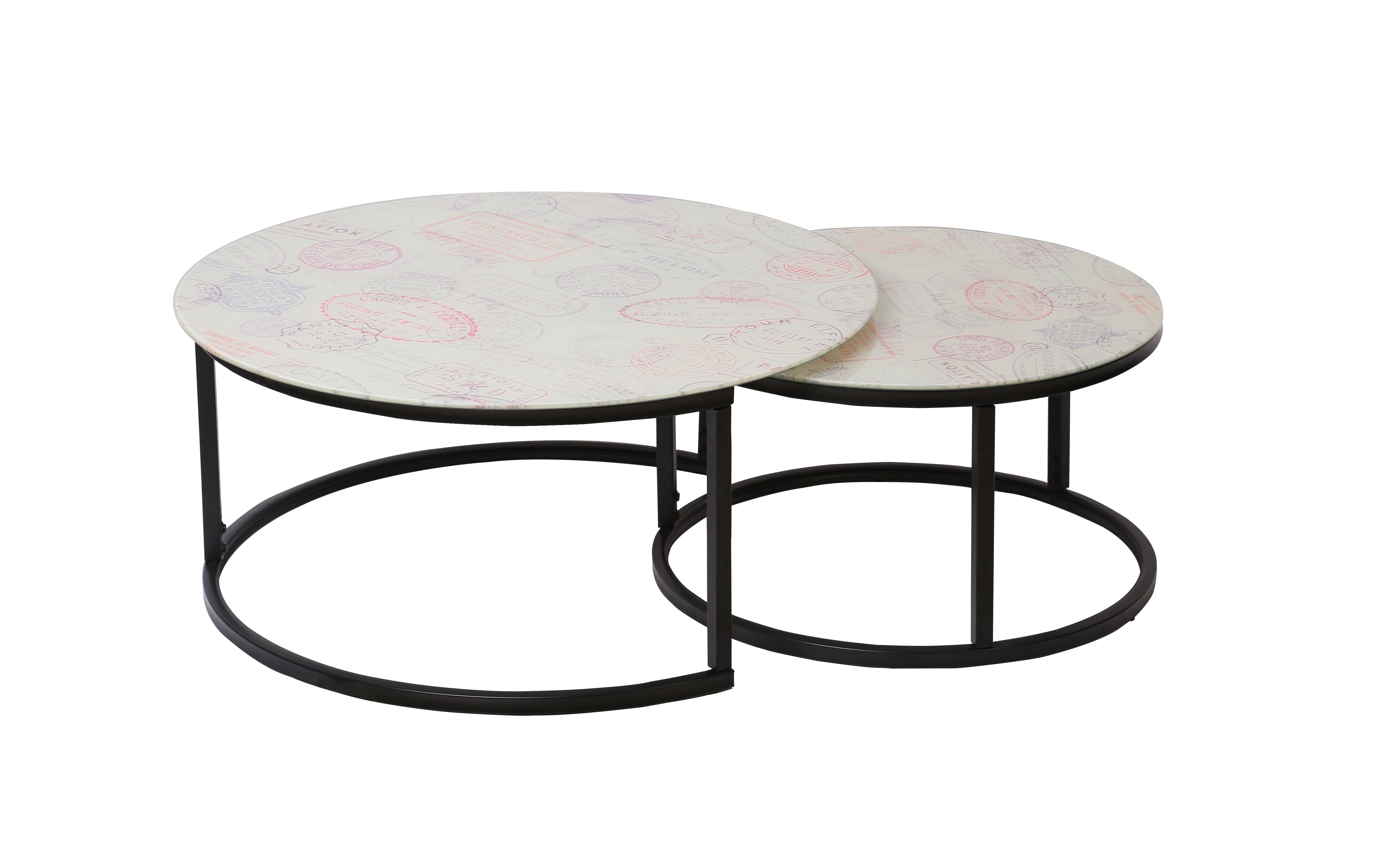 Round Shape Tempered Glass Coffee Table With Vintage Prints Coffee Table Table Nesting Tables [ 3265 x 5176 Pixel ]