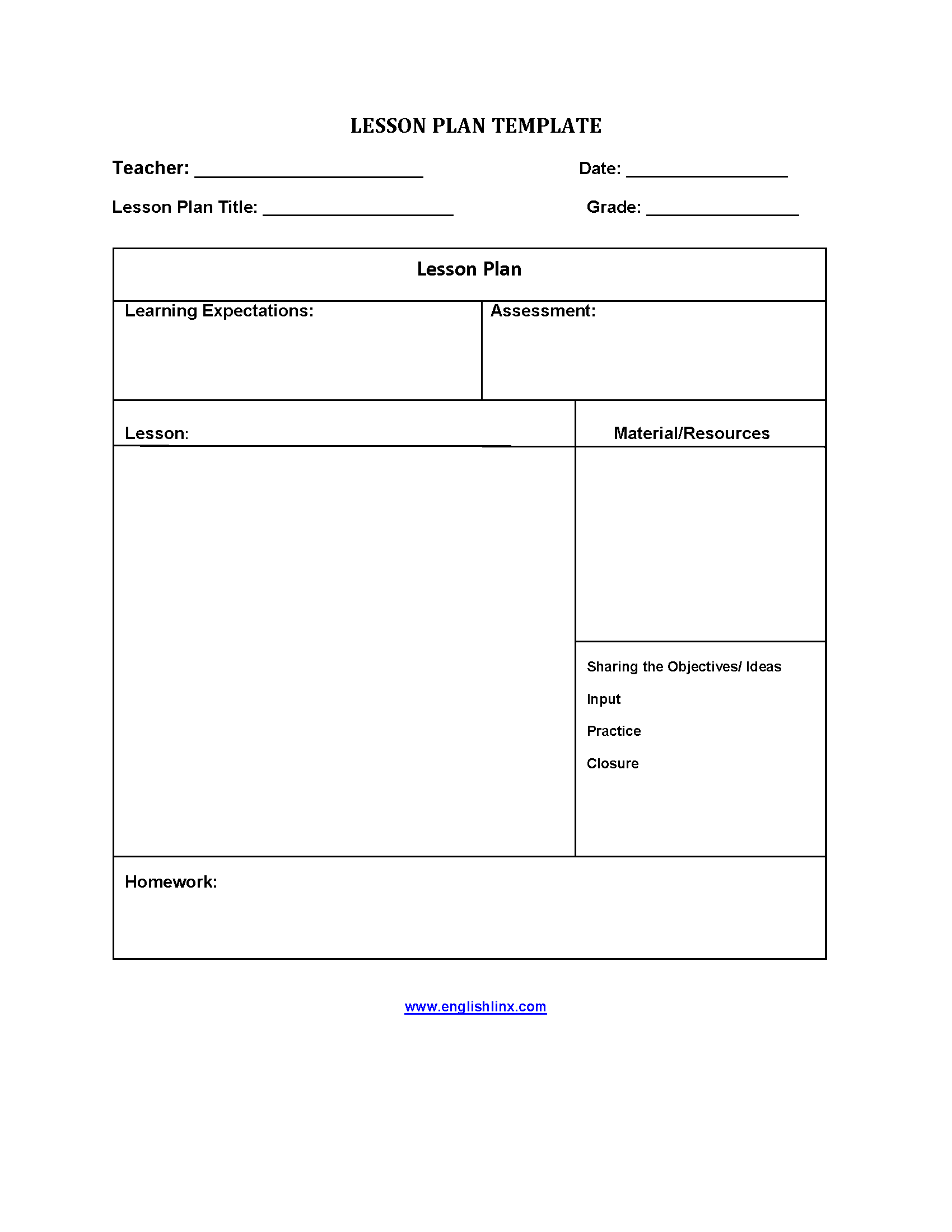 Five Step Lesson Plan Template