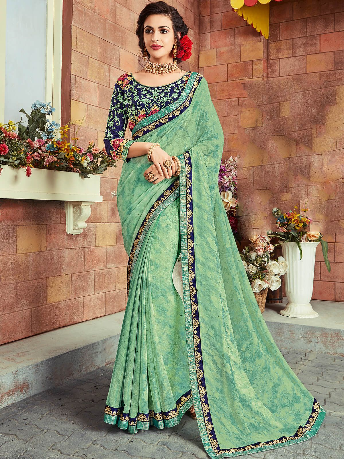 81d775f0b9d5ed Sparky turquoise and navy blue georgette festival wear designer saree.  Having fabric georgette and raw silk. This gorgeous saree is displaying  some ...