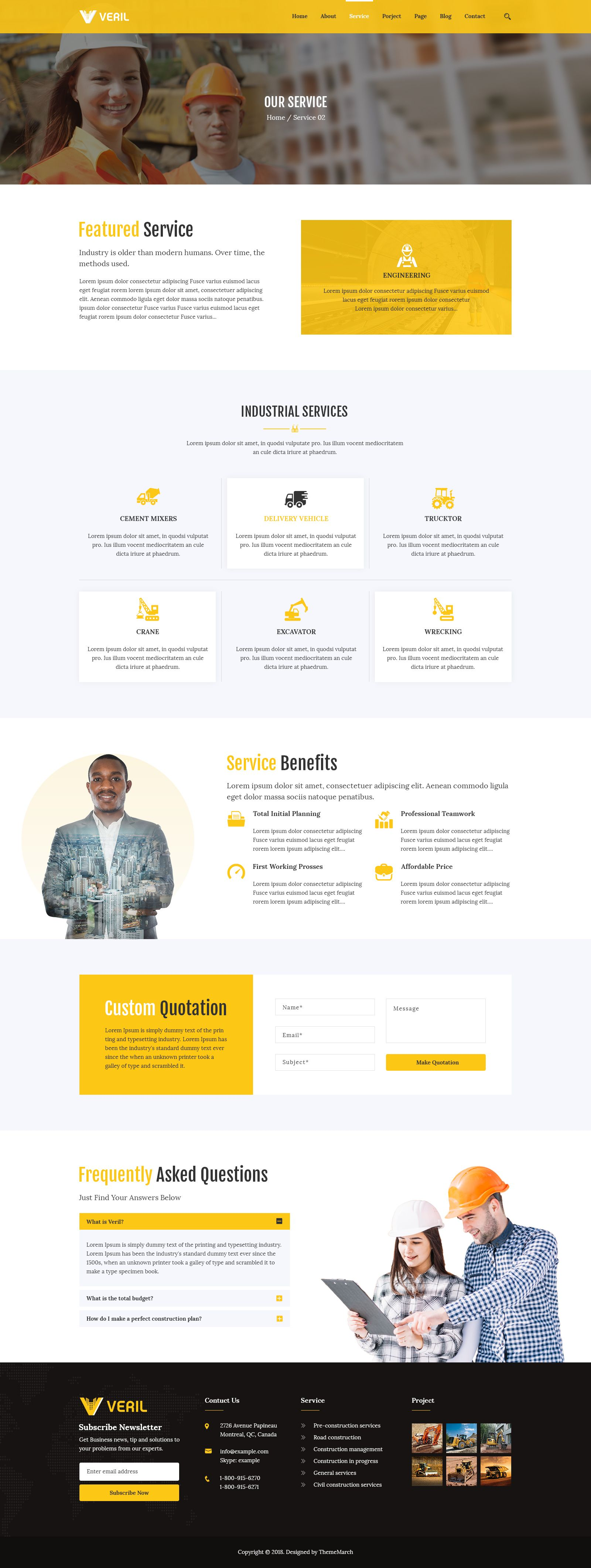 Veril Construction And Industrial Psd Template Construction