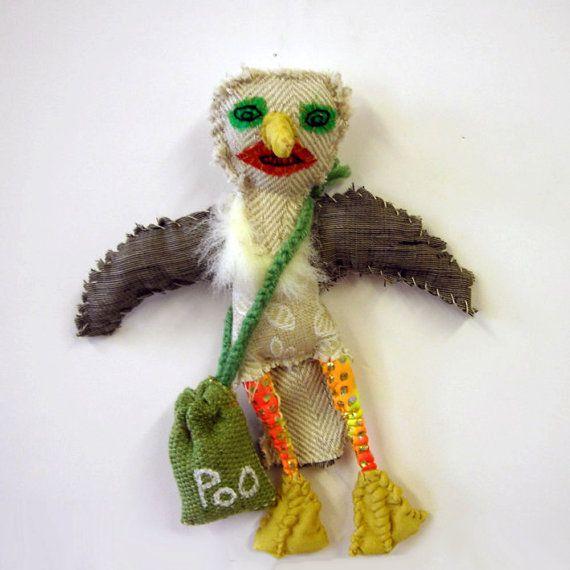 seagull - textile bird hand sewn