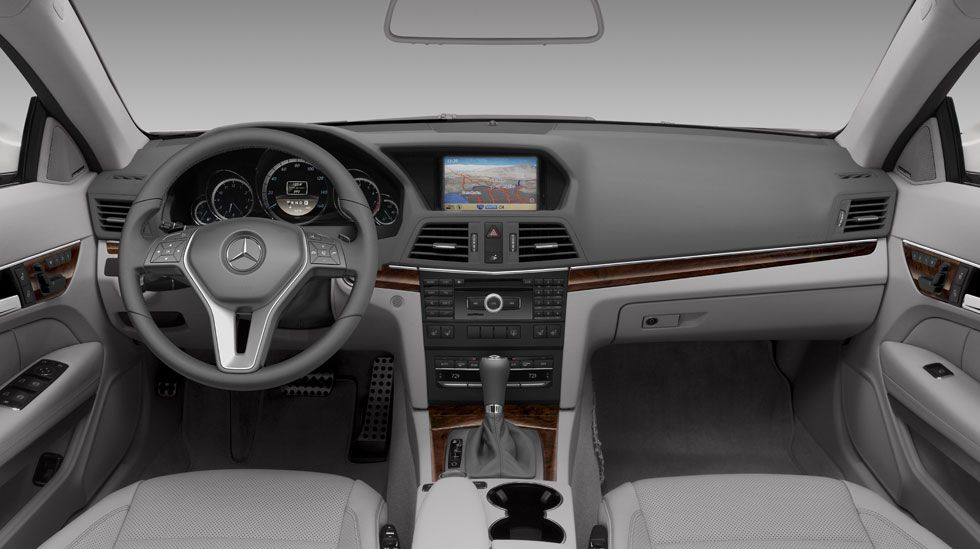 E350 Coupe in AshDark Grey leather and Burl Walnut wood