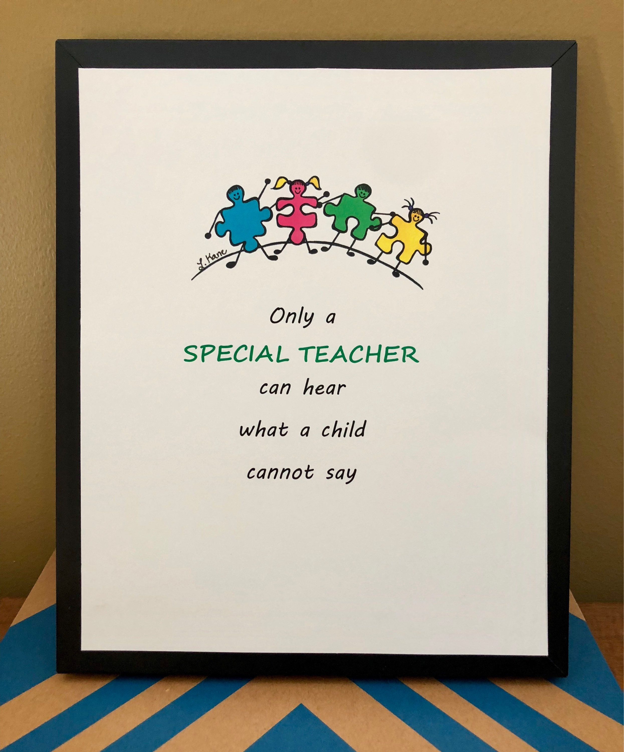 Special Education Teacher Gift Ed Reciation Autism Needs Art Awareness Painting By Alleluiarocks
