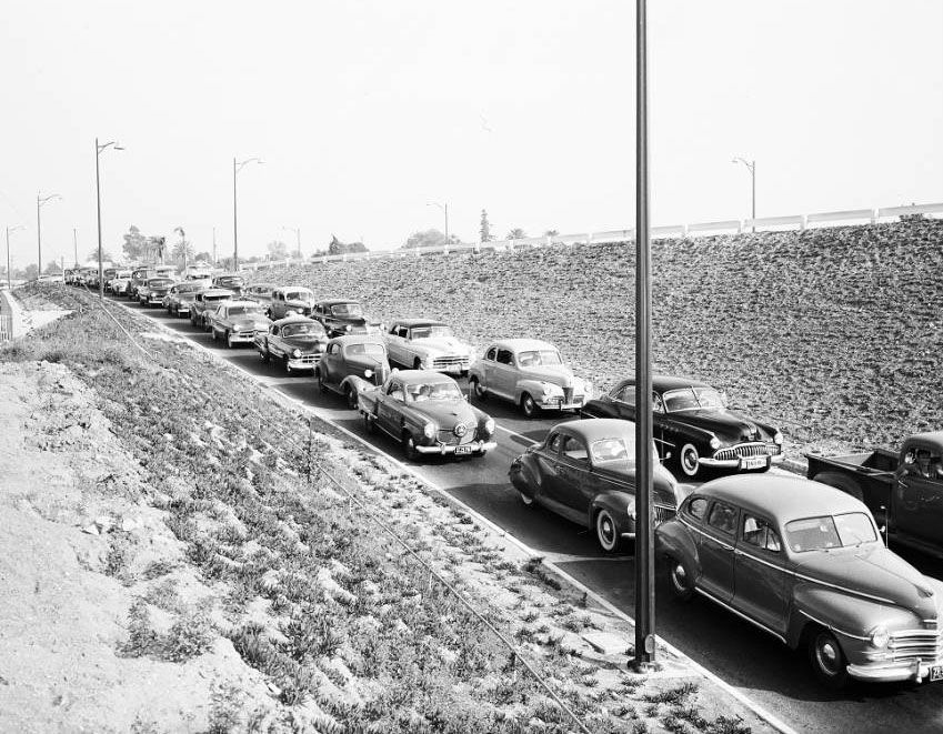 The Hollywood Freeway Silver Lake Boulevard off-ramp (1951) via the Los Angeles Examiner Collection in the USC Digital Library