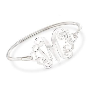 """Ross-Simons - Sterling Silver Monogram Bangle Bracelet. 7"""" - #876031"""