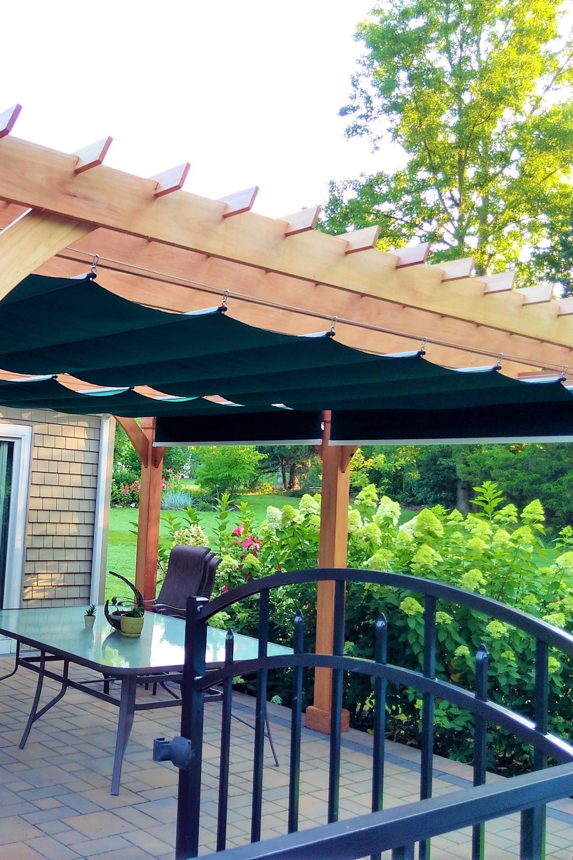 Wood Pergola With Large Green Fabric Shades Pergola Shade Cover Backyard Shade Pergola Shade