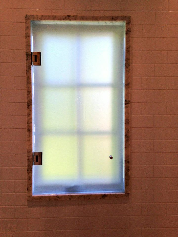 Beau Acid Etch Glass To Cover Window In A Shower.