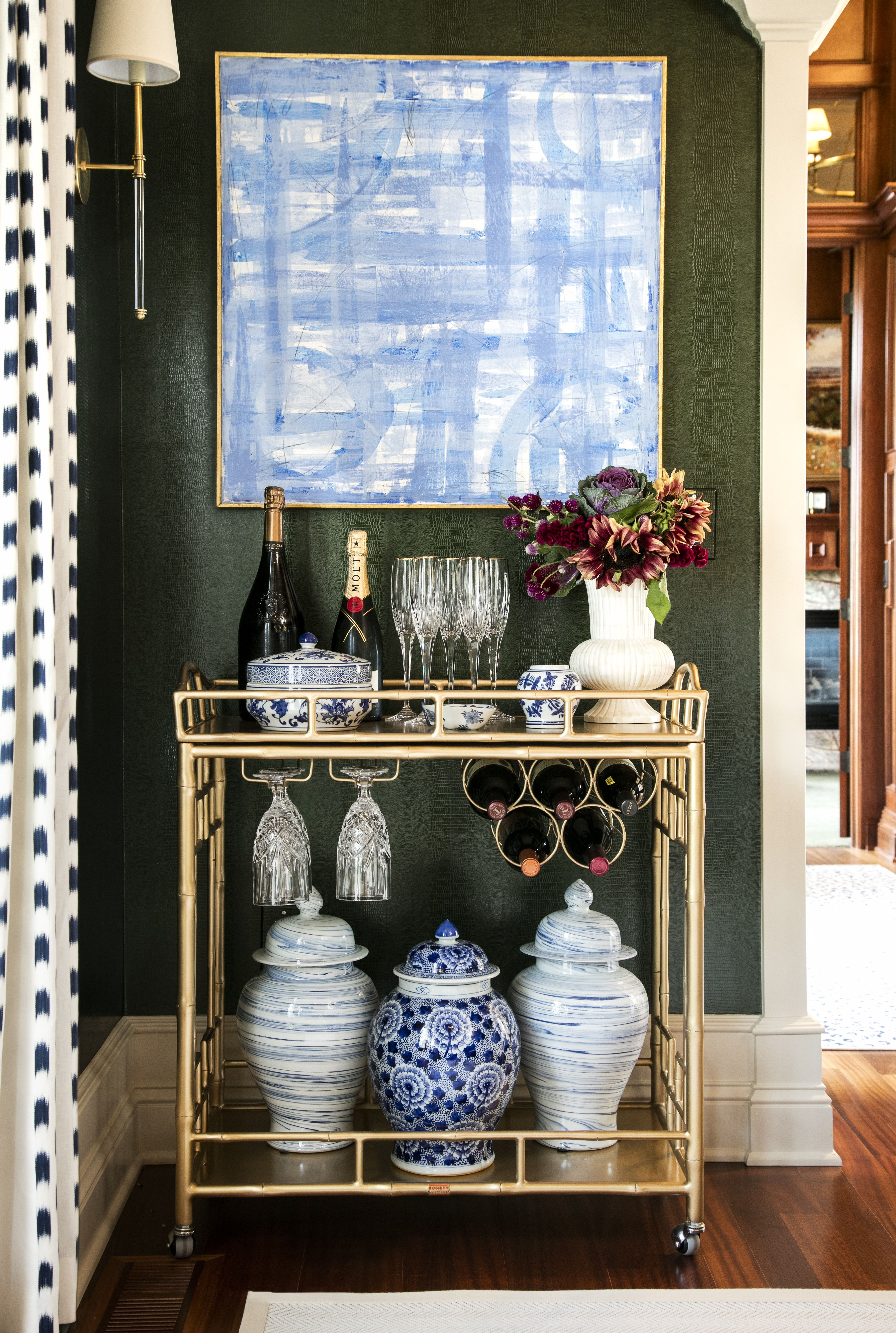 Gold Bar Cart Detail In Formal Dining Room By Amanda Reynal Interiors