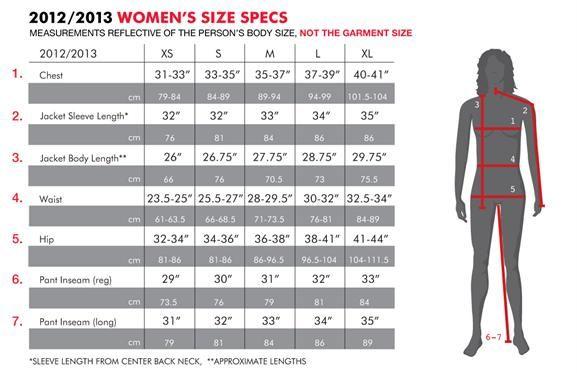 686 Snowboard Clothing Size Chart Women