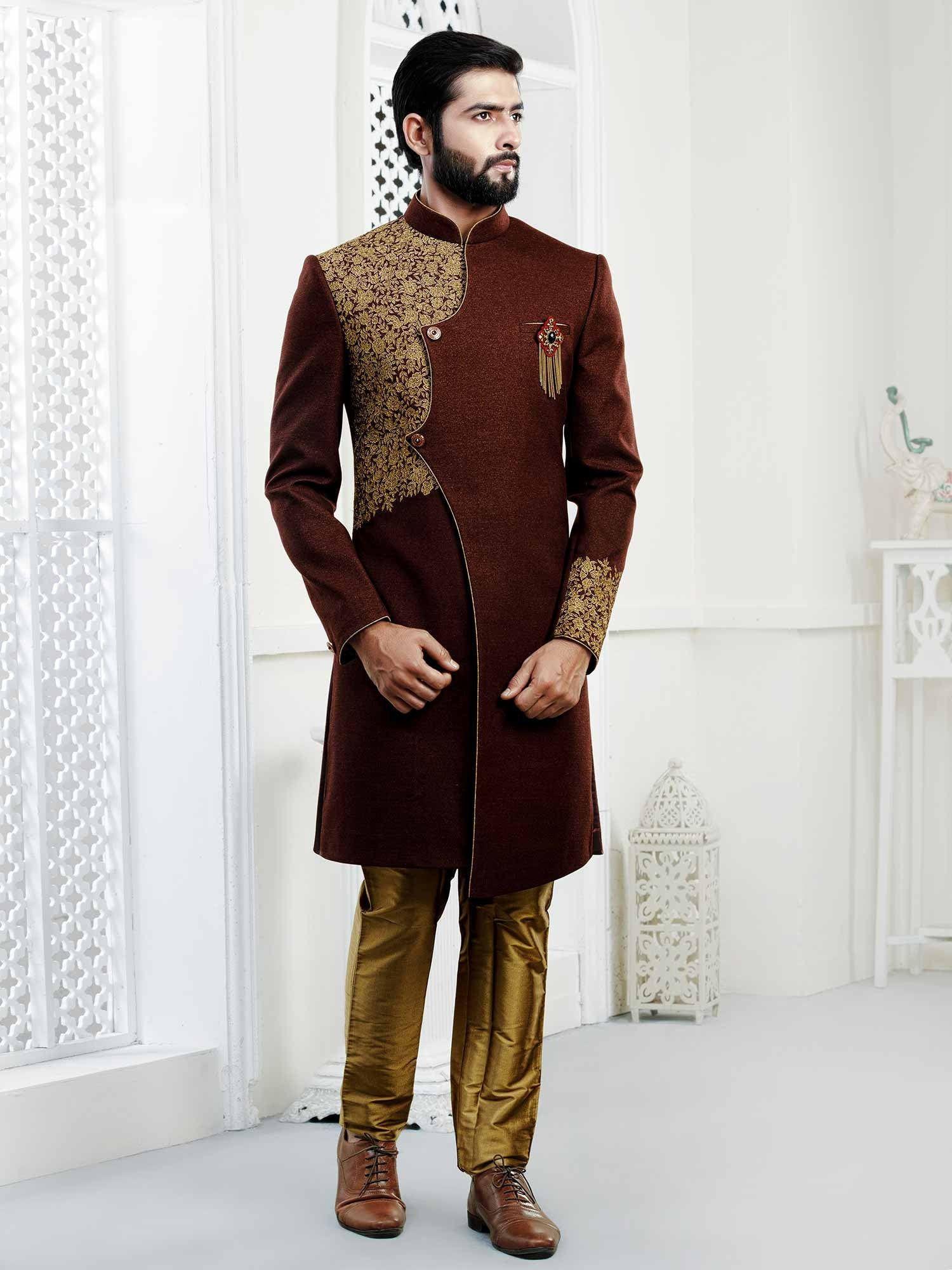 Designer Indowestern For Wedding Wedding Indowestern Sherwani For Men In Brownish Maroon Colour Western Suits Sherwani Menswear