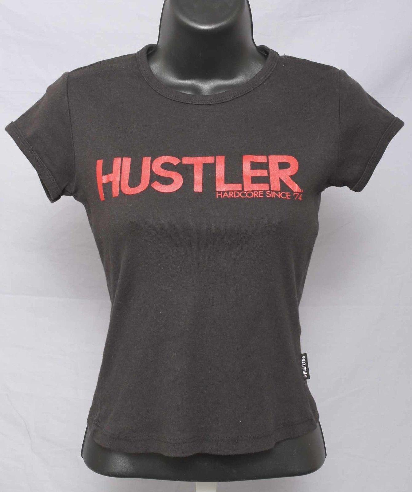 "Hustler Black Short Sleeve Cotton ""Hustler"" Print T-Shirt Size S 651 T315"