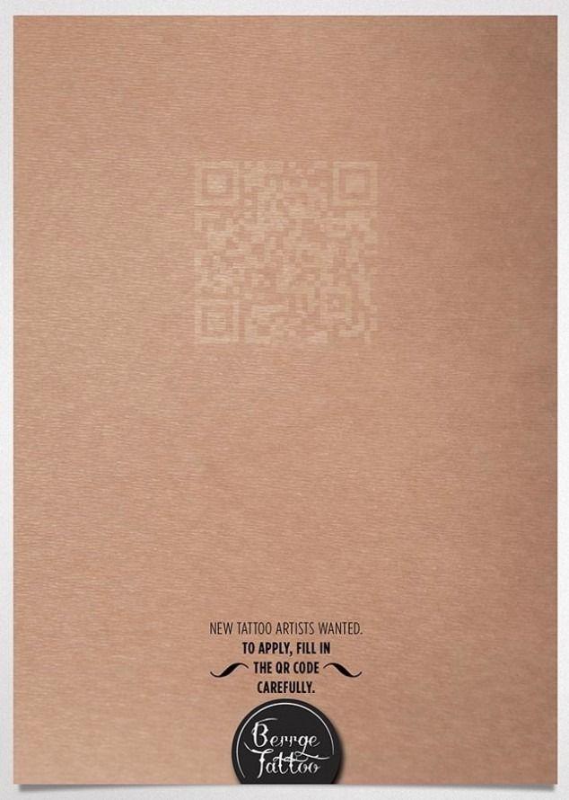 Tattoo studio with clever print ad Advertising Pinterest