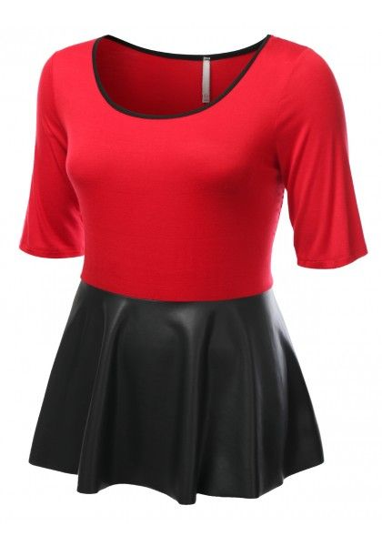 Jersey 3/4 Sleeve Peplum Shirt With Faux Leather Detail #jtomsonplussize