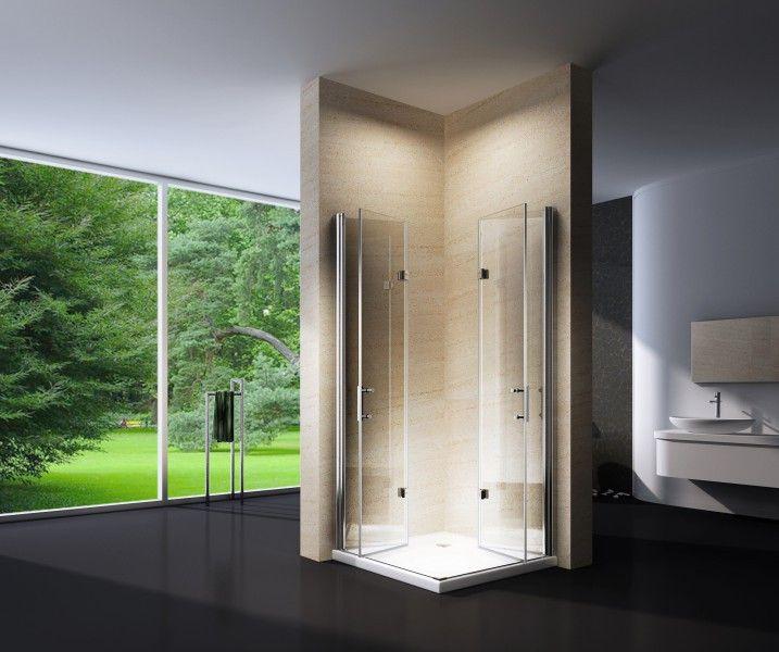 Duschkabine Eckeinstieg Falttür 6 mm Echtglas EX213 90 x