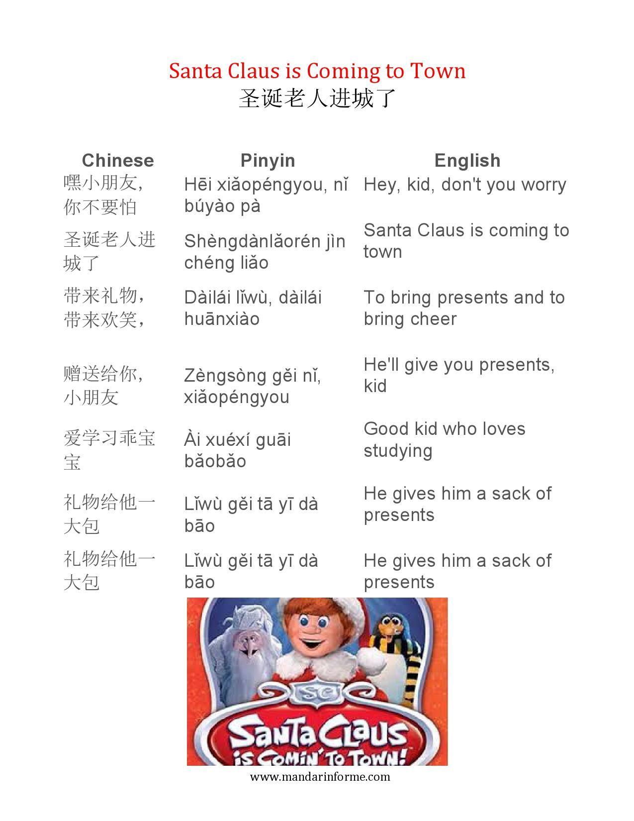 Song Lyrics Santa Claus Is Coming To Town 1