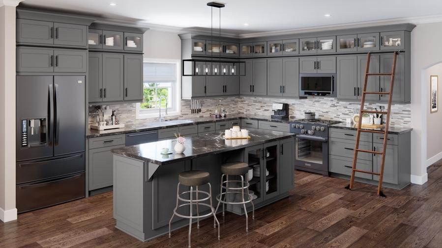 "Average 10x10 kitchen price $2,158. Click here to Learn more about our 10x10 kitchen layout and what is included. Order your High Quality Low Cost Kitchen Cabinets in Shaker Grey RTA ""Ready To Assemble"" and Pre-Assembled from Rtadirect.com. US Cabinet Depot"