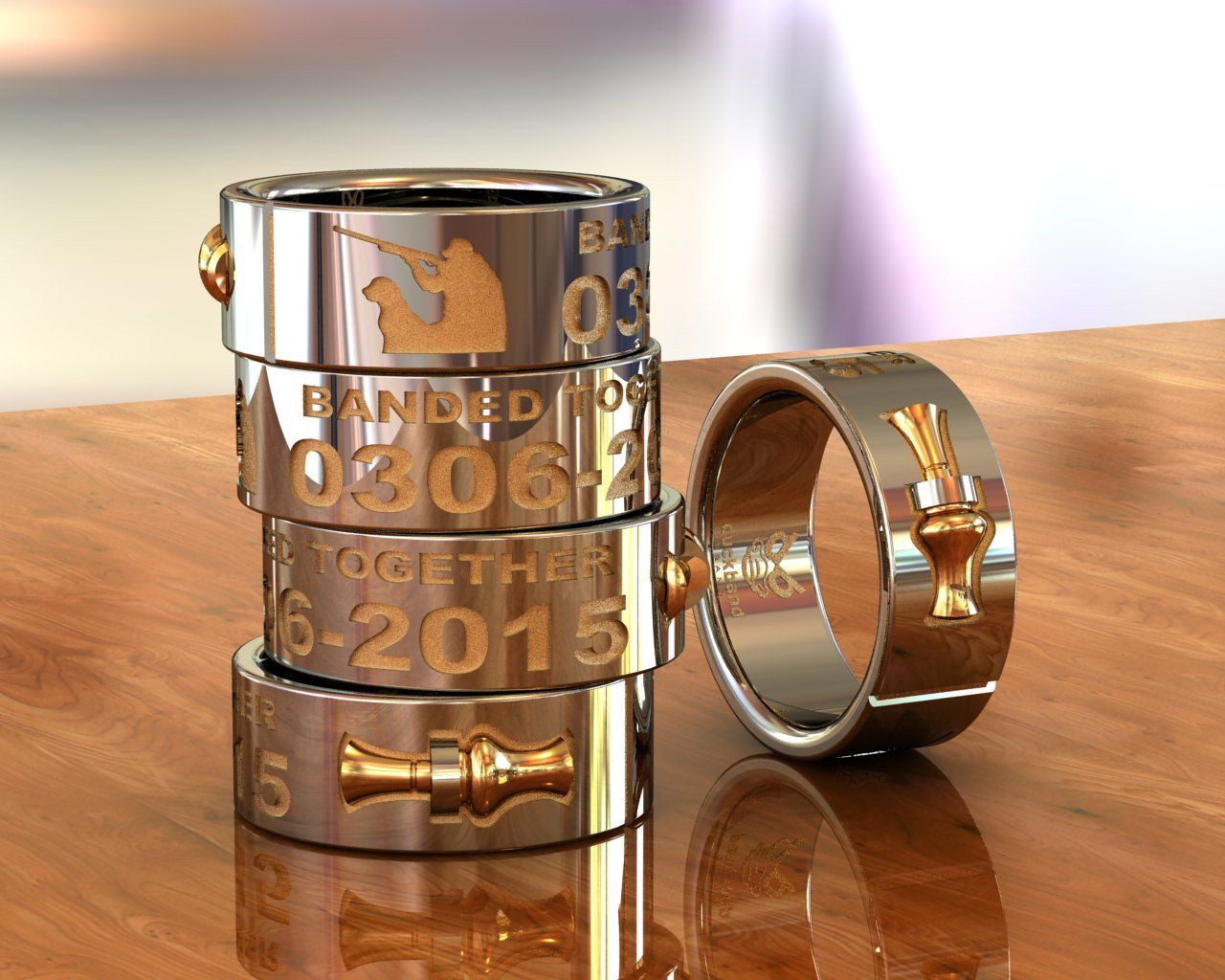 DuckBandBrands Custom 14K Gold Wedding Band With 3D Duck Call Are Castings