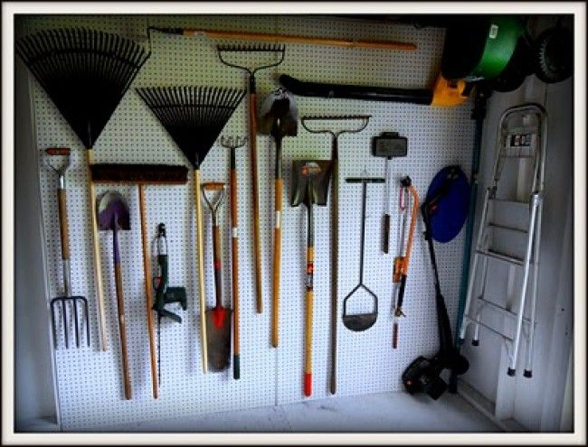 Stagger The Hanging Of Yard Tools · Pegboard OrganizationOrganization  StationOrganizing IdeasWorkshop OrganizationYard ToolsStorage ShedsStorage  ...