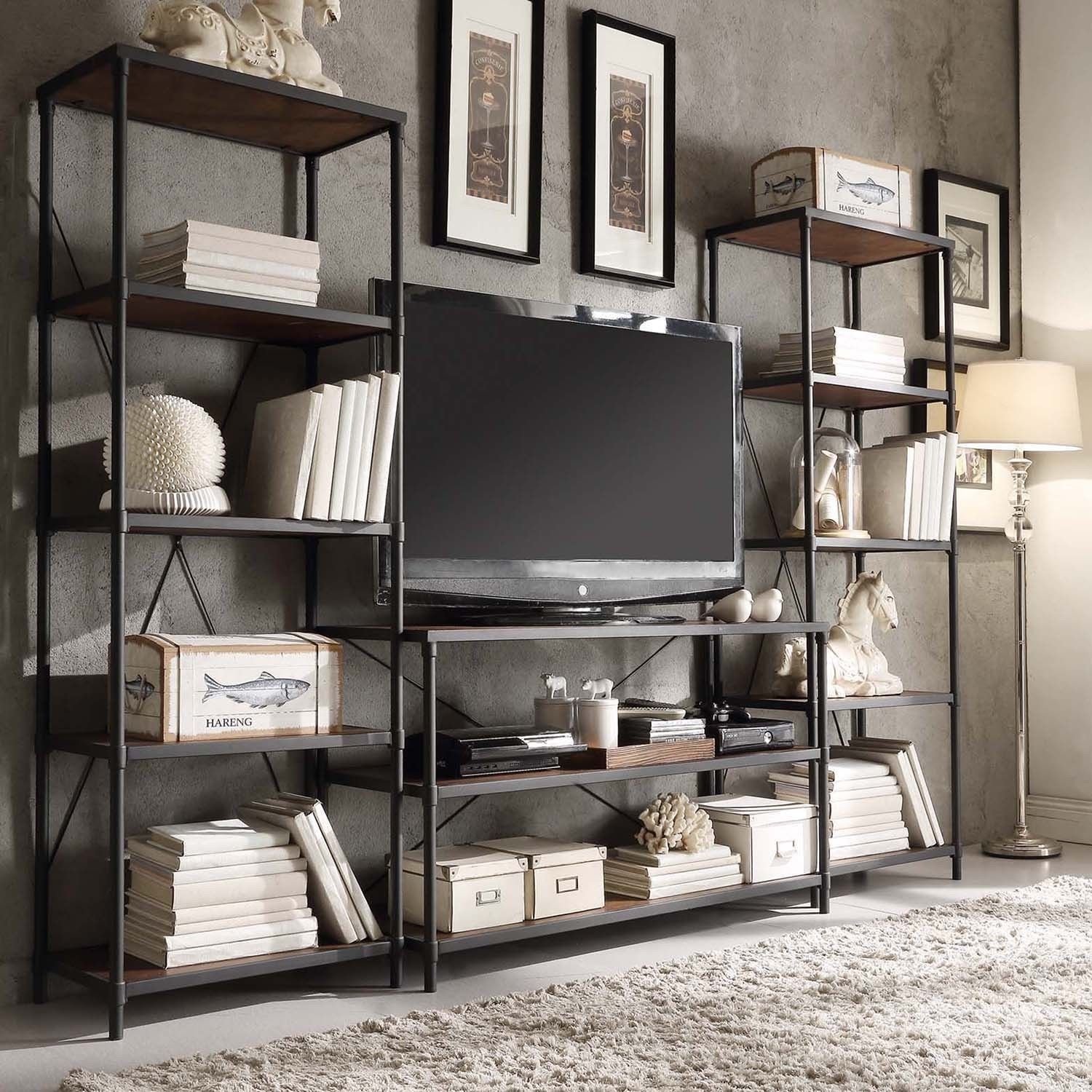 Inspire Q Harrison Industrial Rustic Pipe Frame Media Stand with Two  26-inch Towers