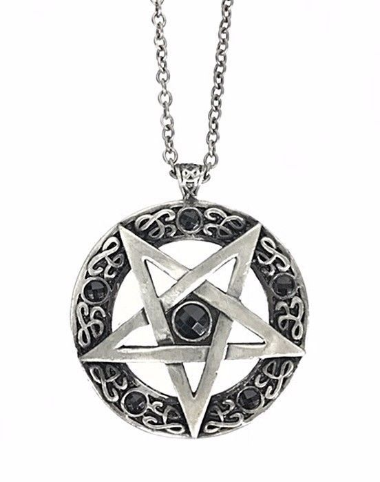Large inverted pentagram pendant necklace black stone occult gothic large inverted pentagram pendant necklace black stone occult gothic punk grunge pinterest grunge fashion jewelry necklaces and punk aloadofball