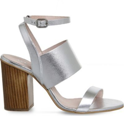 OFFICE Time 3 strap metallic-leather heeled sandals