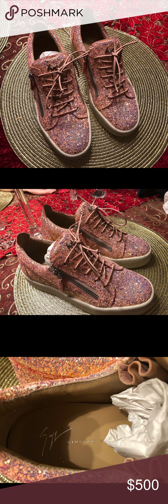 1f2426b8cc6 Giuseppe zanotti shoes May Coarse Glitter Platform Sneakers Barbie color Shoes  Sneakers