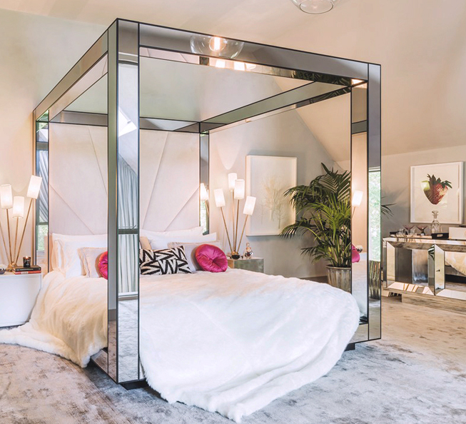 Mirrored Bed Frame Glamourous Bedroom Home Bedroom Bedroom Design