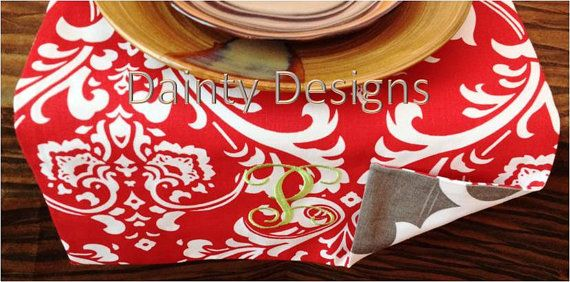 """PRICE REDUCTION 54"""" to 140"""" Red Damask & Quatrefoil Spirit Brown Table Runner with FREE Embroidered Monogram by daintydesignsshop"""