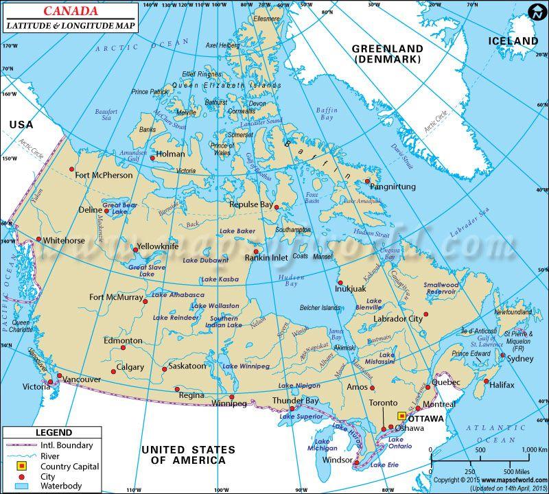 Canada Latitude And Longitude Map With Images Latitude And