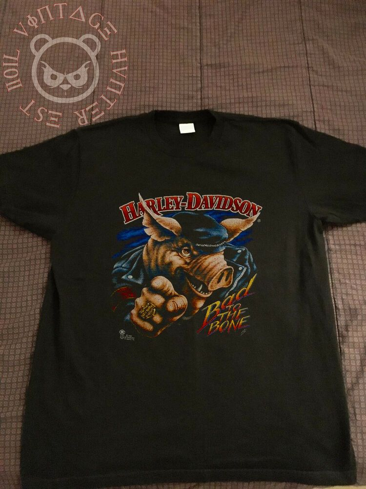 Vintage 1987 3d Emblem Harley Davidson Pig Bad To The Bone Hawg T Shirt Reprint Fashion Clothing Shoes Access Black Pullover Hoodie Shirts Mens Sweatshirts